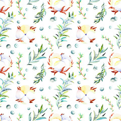 Watercolor winter seamless pattern. Handpainted  watercolor christmas pattern with winter branches, berries, cotton. Perfect for you postcard design, wallpaper, happy new year print etc.
