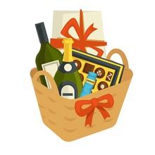 Gift Basket Full Of Chocolates And Alcohol Bottles