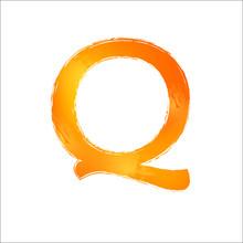 Watercolor Letter Q. Orange Im...
