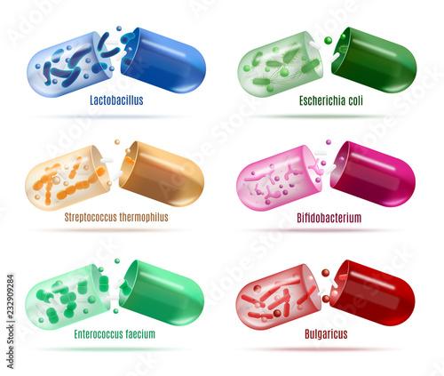 Medicines with Probiotics Bacteria Vector Set Fototapeta