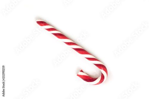 Christmas candy cane isolated on white background.