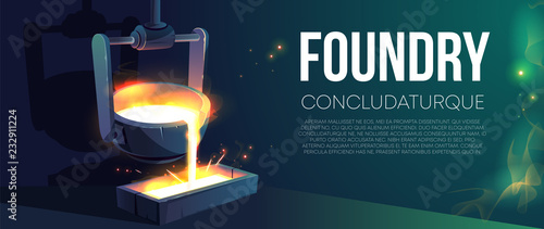 Valokuva  Modern foundry factory realistic vector banner or poster