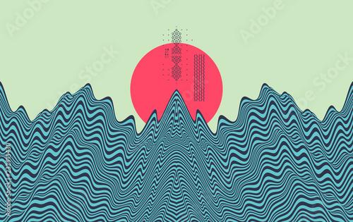 Krajobraz w tle. Teren. Azjatycka wektorowa ilustracja.