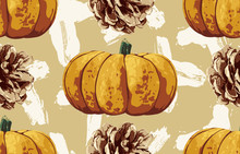 Printable Seamless Vintage Autumn Repeat Pattern Background With Pine Cones And Pumpkins. Botanical Wallpaper, Raster Illustration In Super High Resolution.