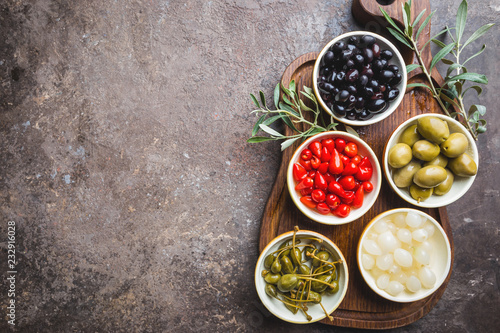 Mediterranean snack assortment. Wallpaper Mural
