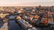 Milwaukee river in downtown, harbor districts of Milwaukee, Wisconsin, United States. Real estate, condos in downtown. Aerial view, drone flying