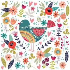 Fototapeta Vintage Art vector colorful illustration with beautiful abstract folk bird and flowers.