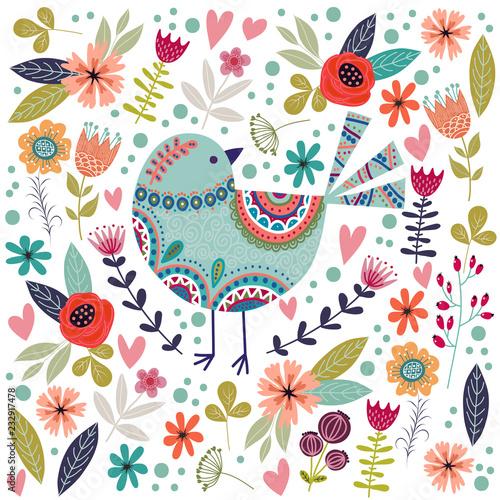 Fotografija  Art vector colorful illustration with beautiful abstract folk bird and flower