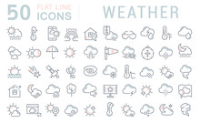Set Vector Line Icons Of Weath...