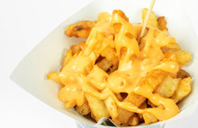 French Fries In White Cup With Cheese Sauce On White Background. Deep Fry Potato Or Appetizer.