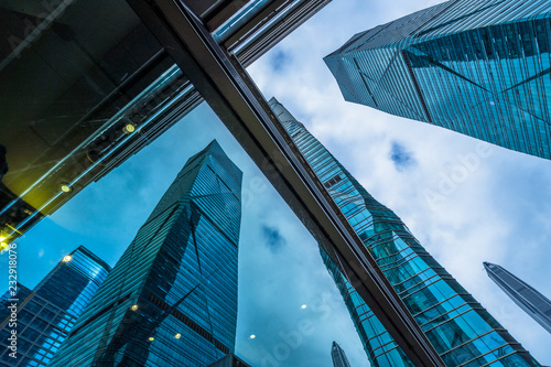 Fototapeta low angle view of skyscrapers in city of China.