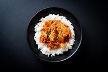 Stir-fried Pork With Kimchi On Topped Rice