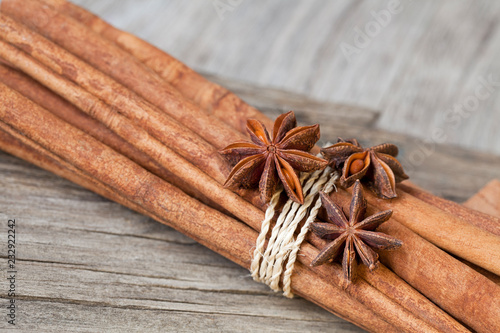 Bundle of spicy cinnamon sticks with star anise - Buy this