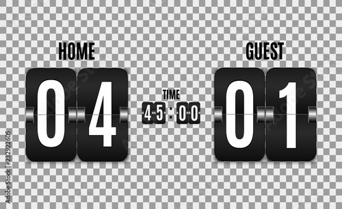 Mechanical scoreboard  Football vector illustration isolated on