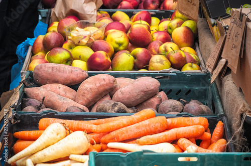 Fresh produce on display at Broadway Market in Hackney, East London