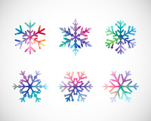 Set Of Snow Flakes. Blue Red Pink Ice, Coloured Xmas Icons. Isolated Cut Seasonal Symbols, Trendy Glittering Glass On Black And White Backdrop. Elegant Abstract Idea, Arts And Graphic Design Template.