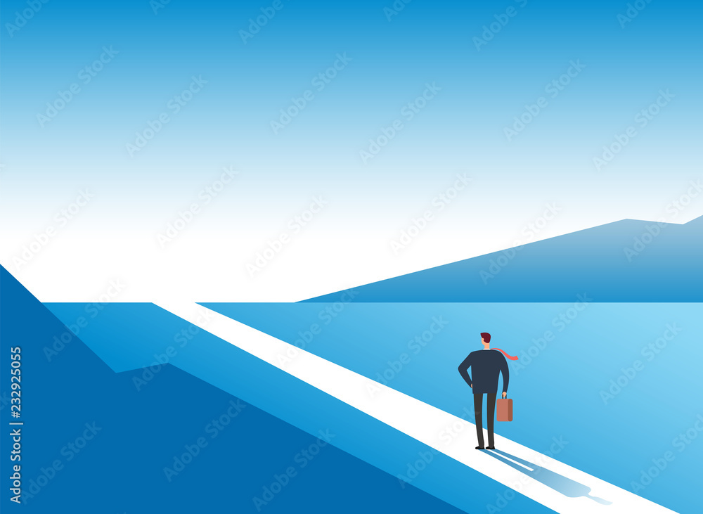 Fototapeta New way concept. Beginning journey adventures and opportunities. Businessman on road outdoor. Business vector background. Businessman and new opportunity, future success illustration