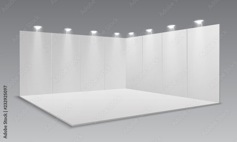 Fototapeta Blank display exhibition stand. White empty panels, promotional advertising stand. Presentation event room 3d template. Vector exhibition and framework, area floor with light lamp illustration
