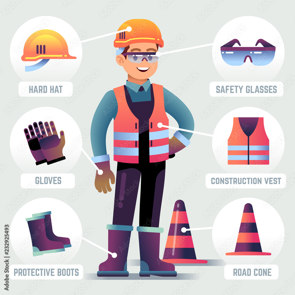 Fototapeta Worker with safety equipment. Man wearing helmet, gloves glasses, protective gear. Builder protection clothing PPE vector infographic. Worker safety helmet, equipment for work protection illustration