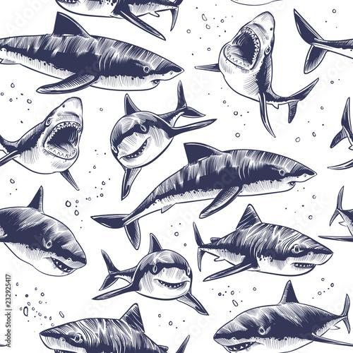fototapeta na lodówkę Sharks seamless pattern. Hand drawn underwater sea fish nautical japanese background. Illustration of underwater shark in sea, marine wildlife