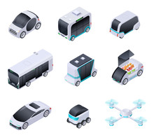 Driverless Cars. Future Smart Vehicles. Unmanned City Transport, Autonomous Truck And Drone. Isometric Vector Isolated Icons. Illustration Of Automobile Intelligent, Smart Auto And Transport Vehicle