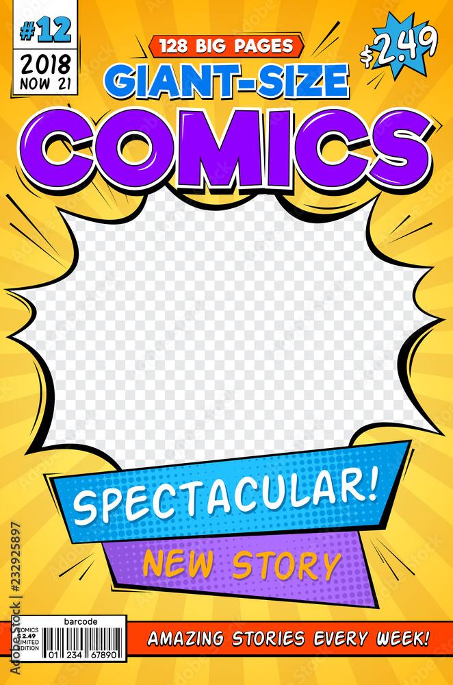 Okładka komiksu. Vintage magazyn komiksu. Szablon strony tytułowej kreskówki. Komiksu anf strona tytułowa magazynu ilustracja <span>plik: #232925897 | autor: MicroOne</span>