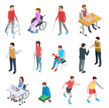 Disabled People Isometric. Persons With Injury In Wheelchair, With Prosthetic Limbs, Blind And Elderly People. Vector Isolated Set. Illustration Of People Disabled In Wheelchair, Person Prosthetic