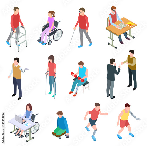 Obraz na plátně  Disabled people isometric