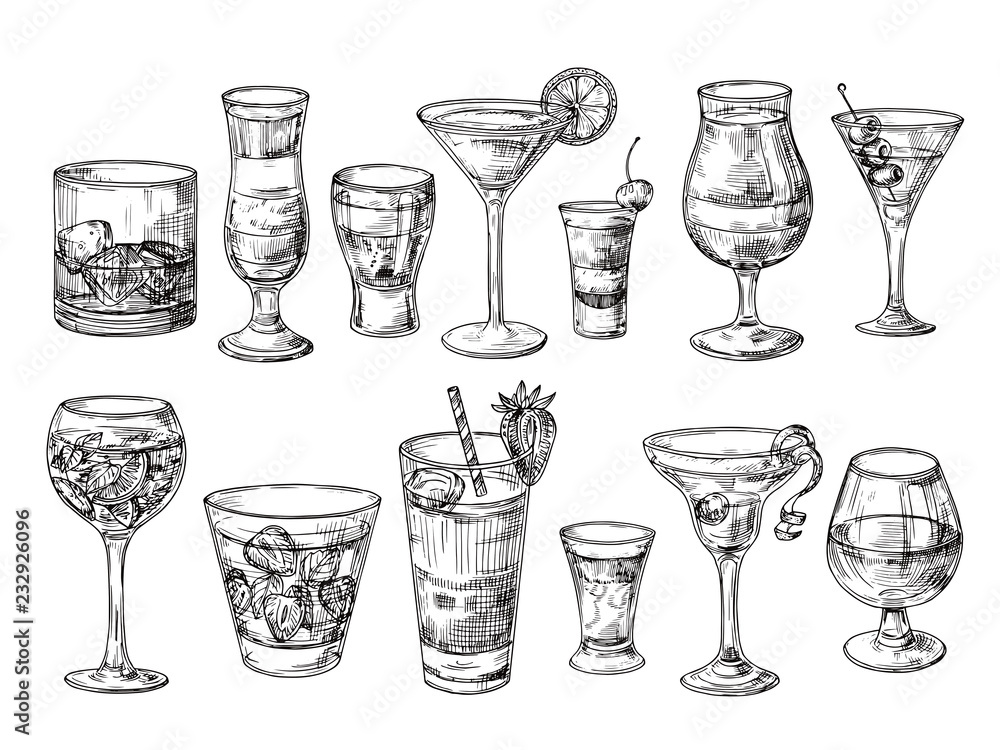 Fototapeta Hand drawn cocktail. Alcoholic drinks in glasses. Sketch juice, margarita martini. Cocktail with rum, gin whiskey vector set. Illustration of alcohol sketch, juice and drink cocktail