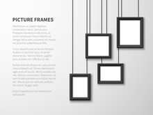Blank Hanging Frames. Pictures, Photo Frames On Light Wall. Contemporary Vector Interior. Illustration Of Interior Wall Banner With Picture Frame