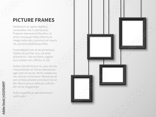 Fototapeta Blank hanging frames. Pictures, photo frames on light wall. Contemporary vector interior. Illustration of interior wall banner with picture frame obraz