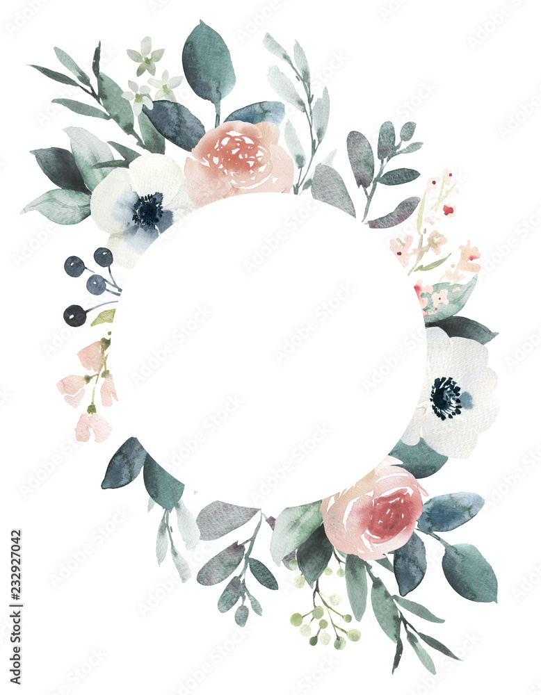 Fototapeta Watercolor wedding floral frame composition with blush roses and eucalyptus