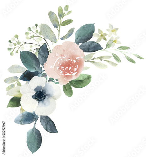 Watercolor wedding floral bouquet composition with blush roses and eucalyptus Wall mural
