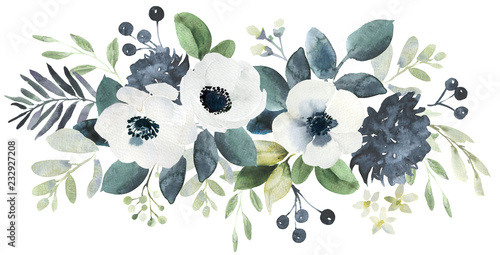 Obraz Watercolor wedding floral bouquet composition with black and white hellebore and eucalyptus - fototapety do salonu