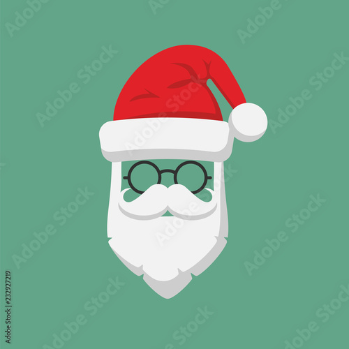 5dadc9d8da0 Santa Claus hat and beard template icon isolated on white background. Vector  illustration.