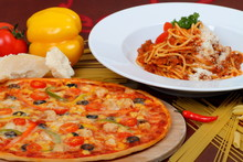 Pasta And Pizza With Tomato Sa...