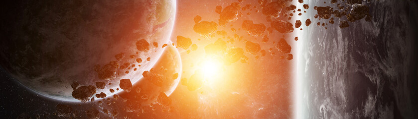Fototapeta Panoramic view of planets in distant solar system 3D rendering elements of this image furnished by NASA