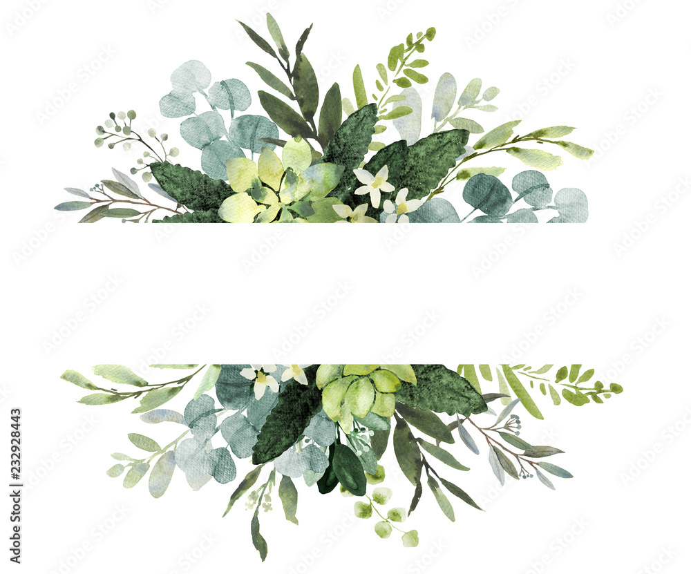 Fototapety, obrazy: Wedding greenery frame. Watercolor illustration with eucalyptus.