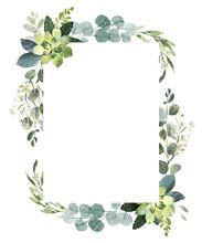 Wedding Greenery Frame. Watercolor Illustration With Eucalyptus.
