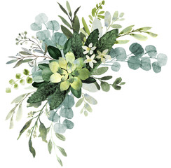 Fototapeta Popularne Wedding greenery bouquet. Watercolor illustration with eucalyptus.