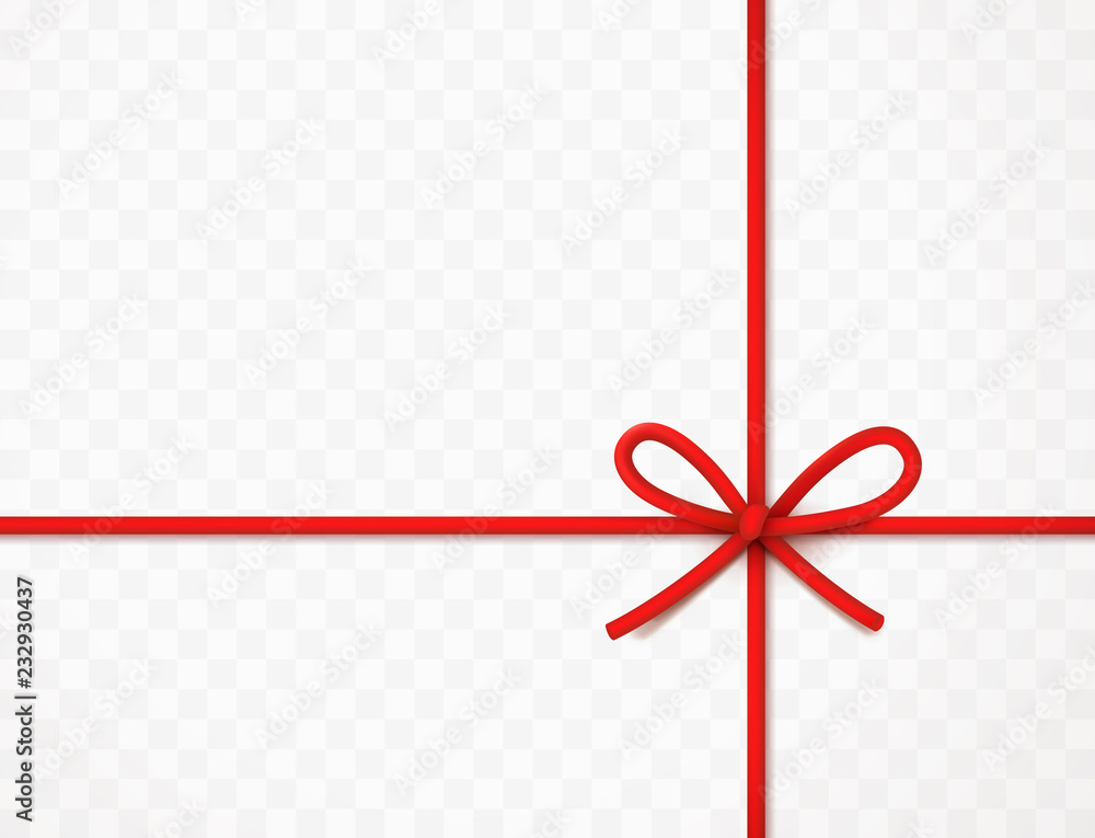 Fototapeta String bow isolated on transparent background. Vector cord, rope or twine. Red Christmas wrap element template.