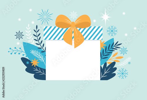 Bif gift box, Christmas banner, New Year Greeting card