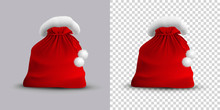 Christmas Open Bag Of Santa Claus Isolated On Gray And Transparent Background. Vector Realistic Illustration.
