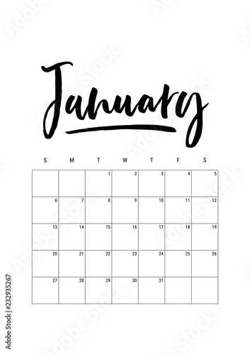 January Calendar Planner 2019 Week Starts On Sunday Part Of Sets