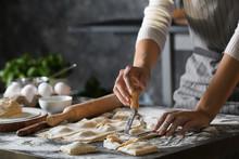 Woman Making Tasty Ravioli On ...