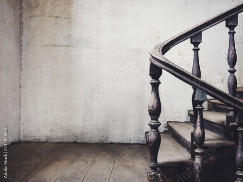 Stairs step hand rail and wooden floor Architecture details old Historical Building
