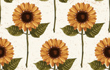 Printable seamless vintage autumn repeat pattern background with sunflowers. Botanical wallpaper, raster illustration in super High resolution. - 232937286
