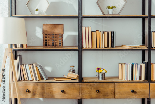 close up of wooden rack with books in living room Wallpaper Mural