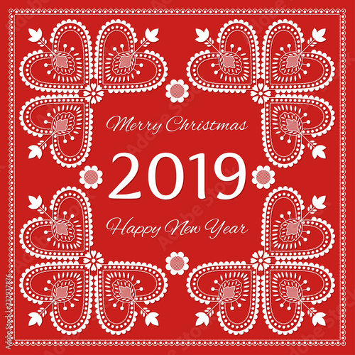 Fotografija  Folk art Merry Christmas and Happy New Year 2019 card vector template