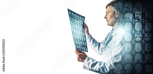 Obraz Silhouette of the doctor on the background of CT scan with brain. Isolated on white. Science, medical and education mri concept background. - fototapety do salonu